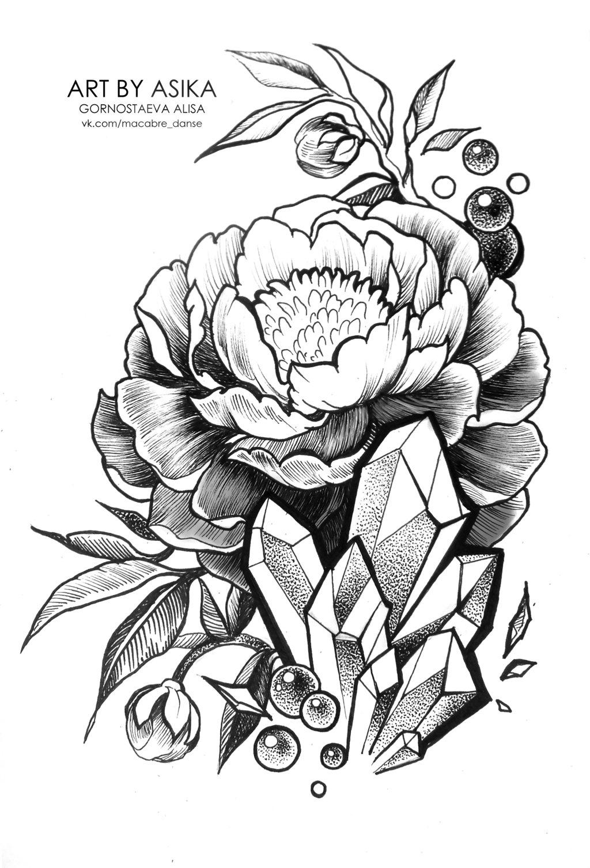 1024x1507 Peony. Tattoo Flash, Dotwork. By Asikaart