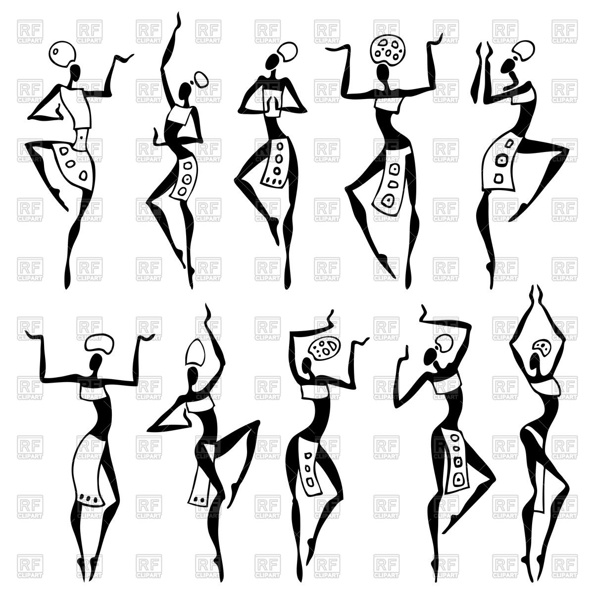1200x1200 Abstract African Dancing Women In Ethnic Style Royalty Free Vector