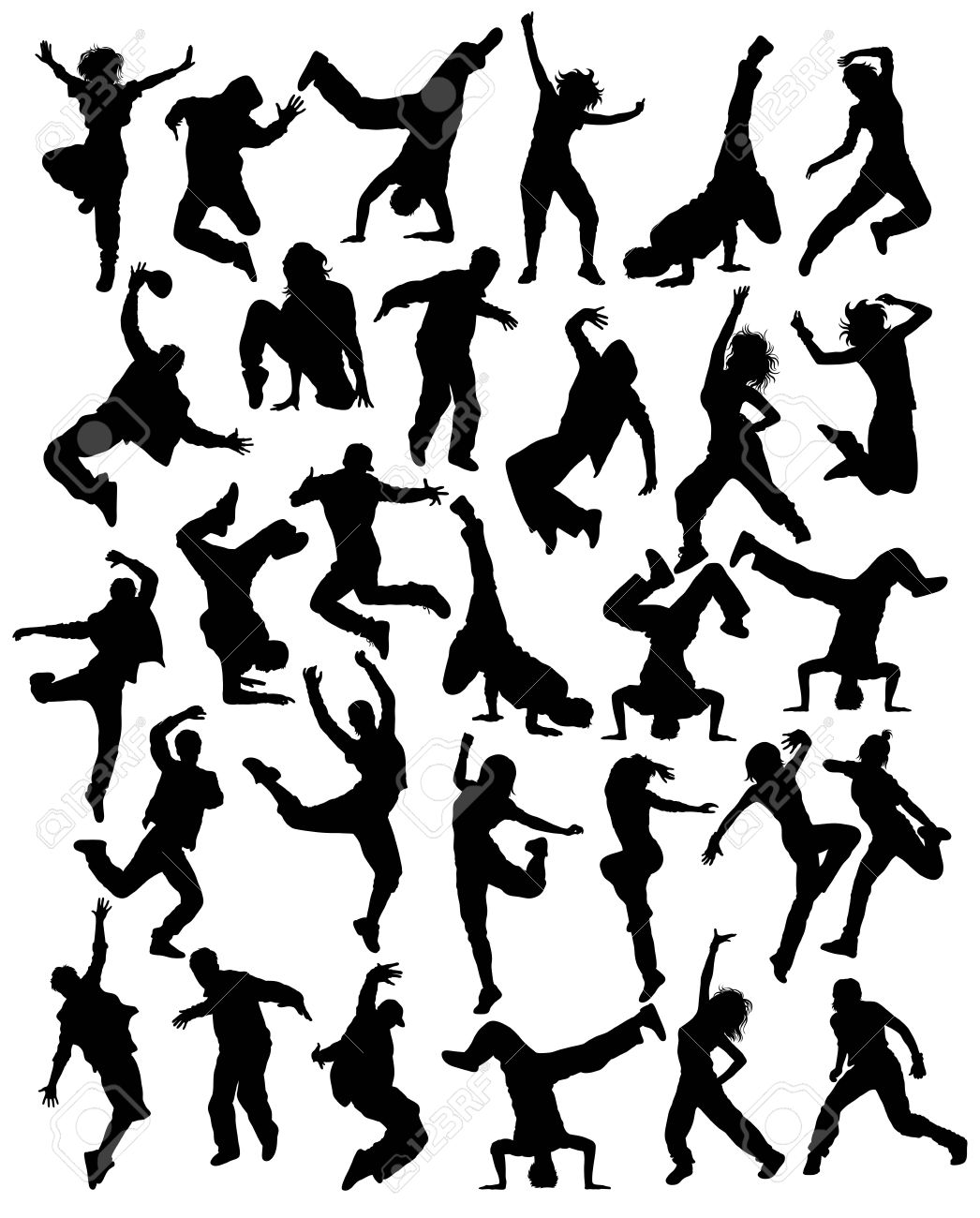 1046x1300 Modern Dancing, Hip Hop And Dance People Silhouettes, Art Vector