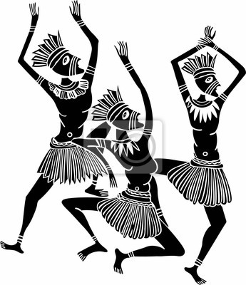 345x400 Wall Mural Dancing Wild African Native People With Traditional