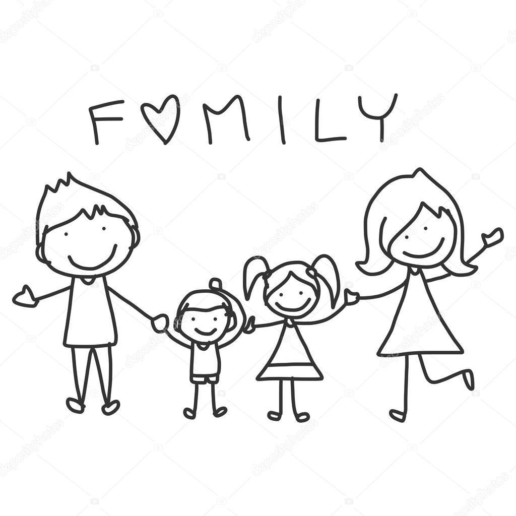 1024x1024 Hand Drawing Cartoon Happy Family Stock Vector Atthameeni