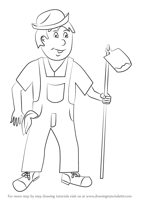 596x842 Learn How To Draw A Farmer For Kids (Other Occupations) Step By