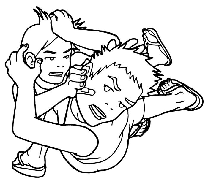 People Fighting Drawing