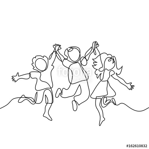 500x500 Happy Jumping Children Holding Hands. Continuous Line Drawing