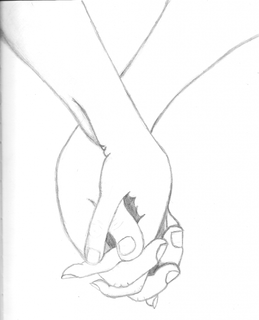 830x1024 Holding Hands Drawing How To Draw People Holding Hands Step Step
