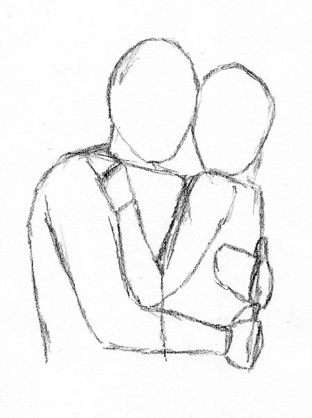 449x600 How To Draw People Hugging Frontal Face To Face Dibujos