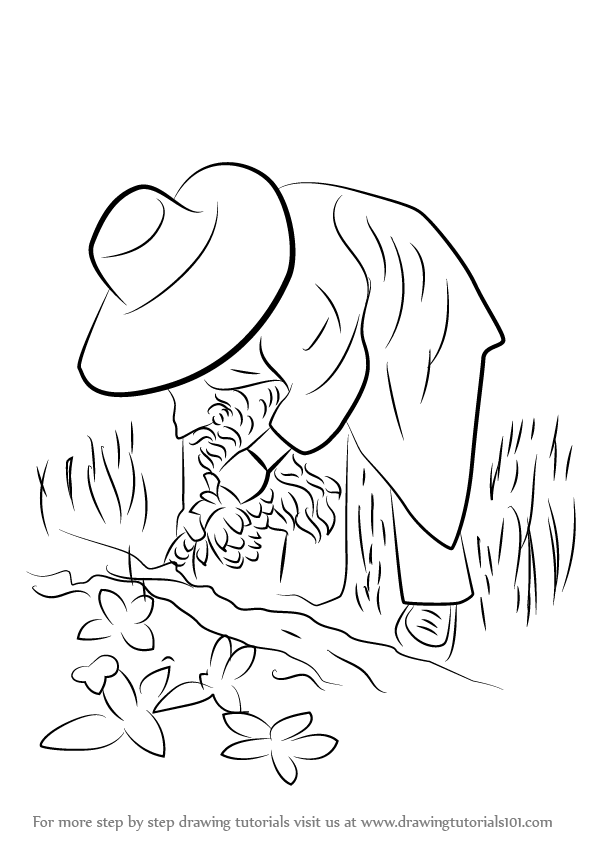 596x842 Step By Step How To Draw A Farmer In Action