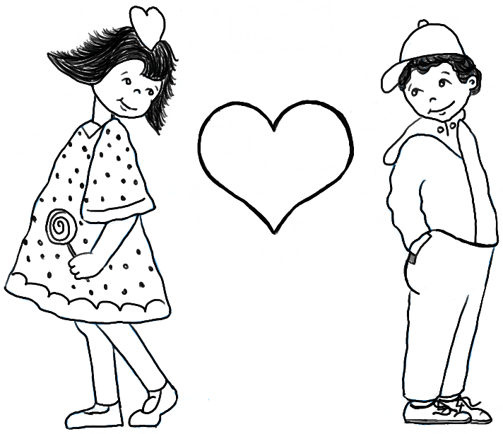 712x614 How To Draw Boy And Girl In Puppy Love For Valentines Day