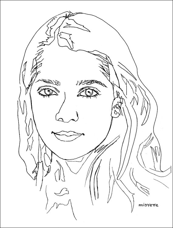 570x752 Items Similar To Line Drawings Of People Amp Pets In Ink (11 X 14