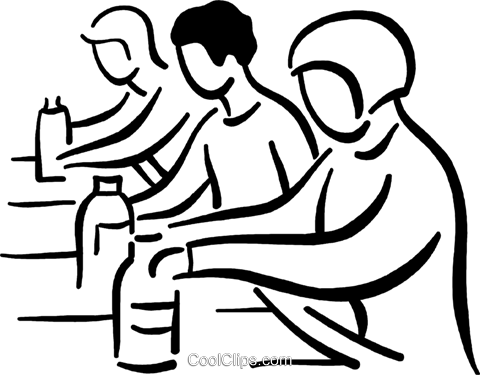 480x375 People Working On The Assembly Line Royalty Free Vector Clip Art