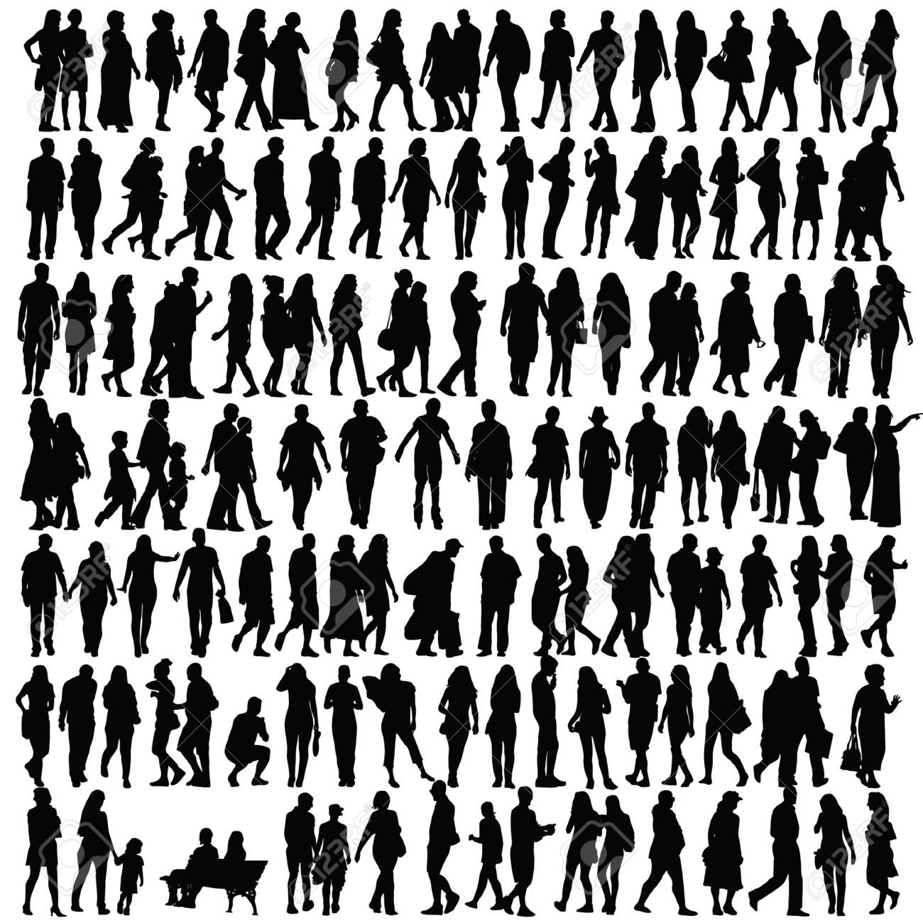 1300x1300 People Silhouette Black Vector Girl And Man Walking Illustration