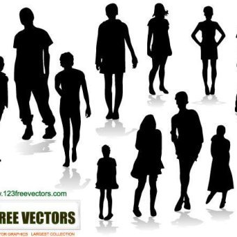 340x340 People Silhouettes Vectors Download Free Vector Art