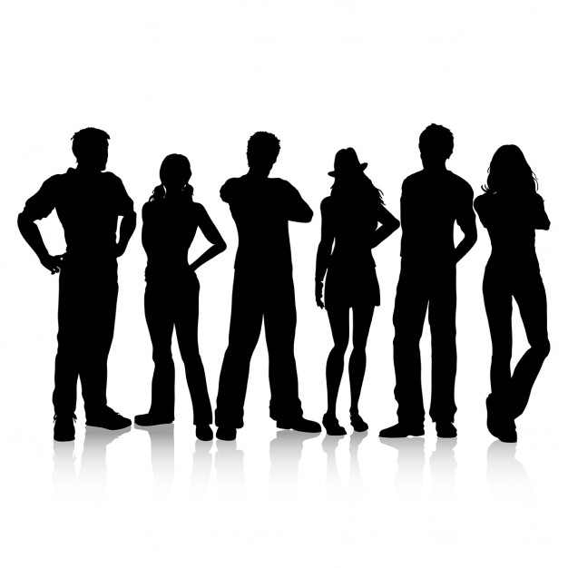 626x626 Silhouettes Of Casual Dressed People Vector Free Download
