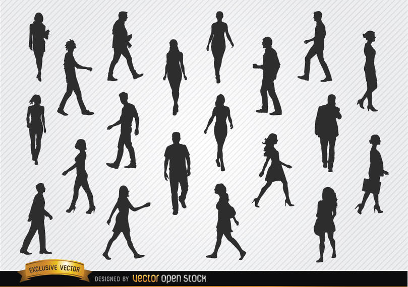 809x570 Walking People Silhouettes Set