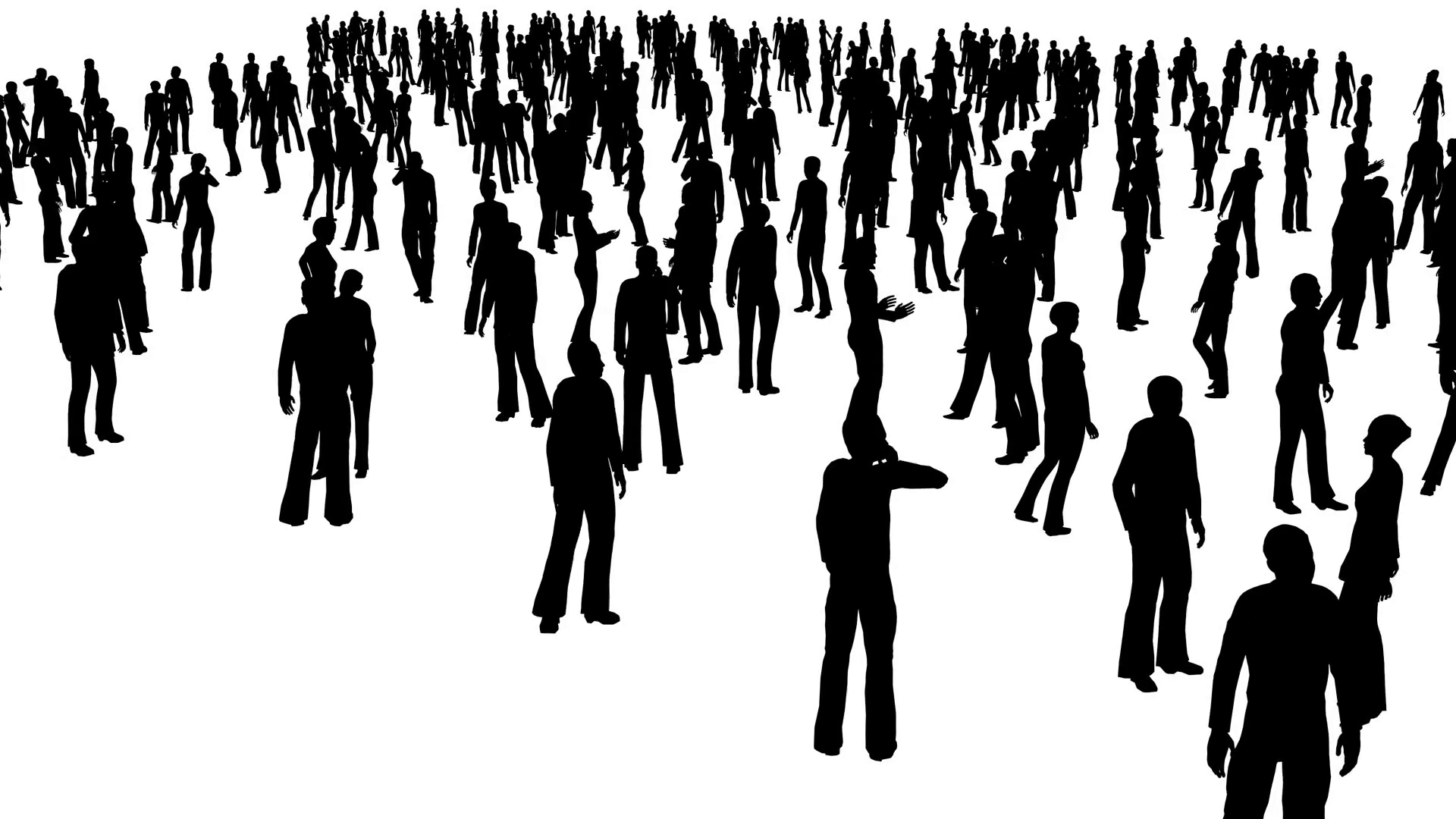 1920x1080 4k The Crowd Of Stand People, All In Silhouette, On A White