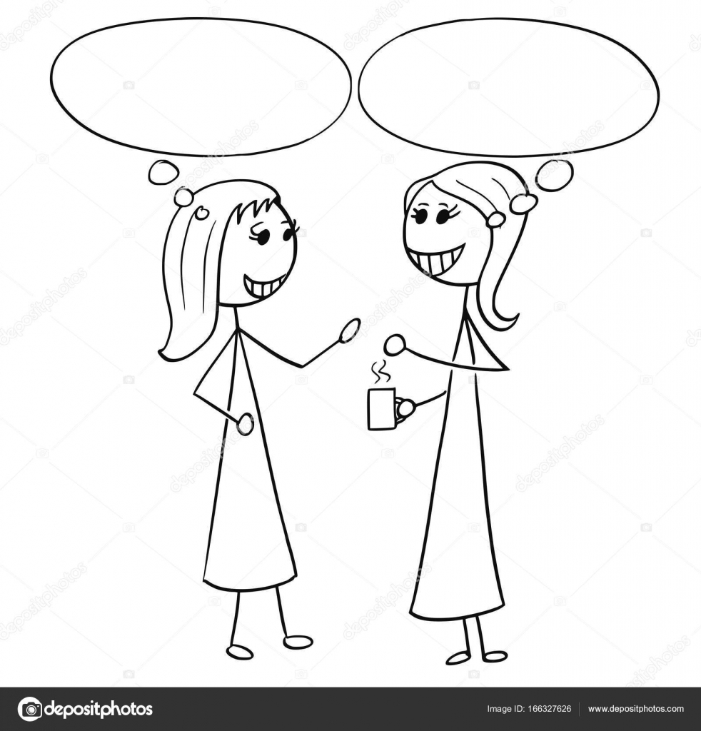 982x1024 Cartoon Illustration Of Two Women Business People Talking Chatti