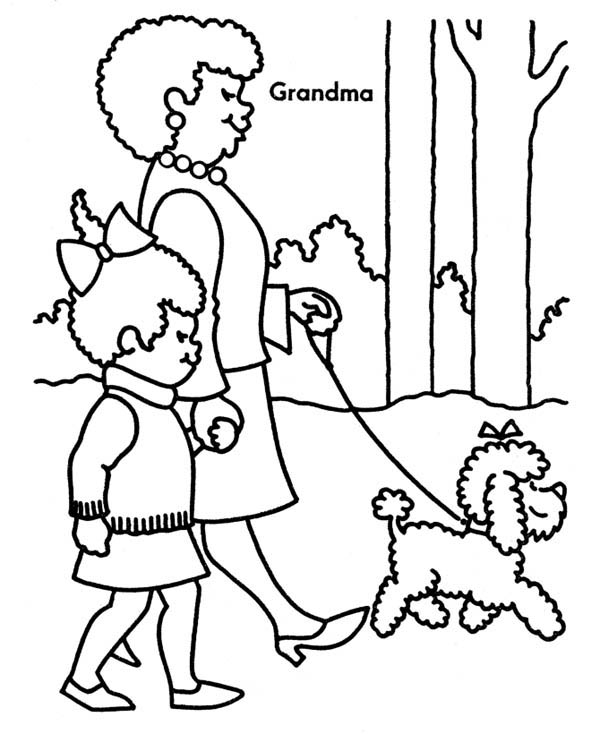 600x734 Walking The Dog With Grandma On Gran Parents Day Coloring Page