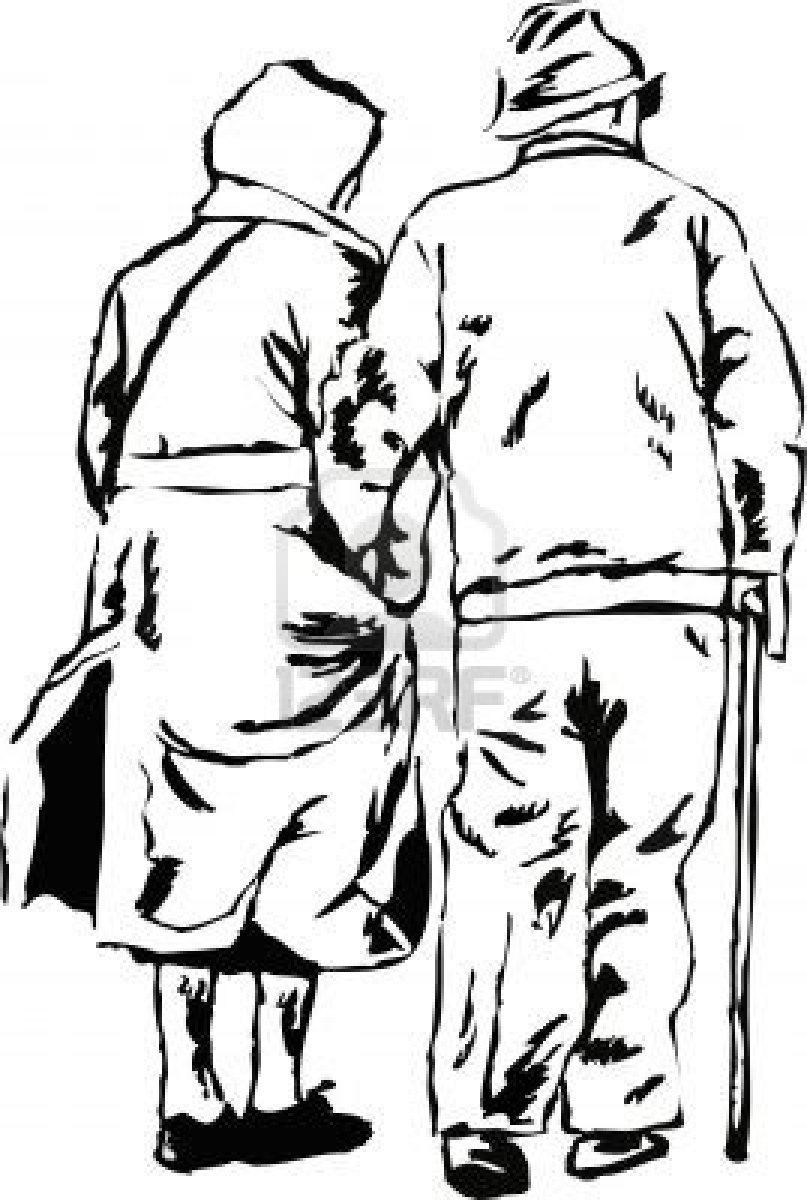807x1200 Sketchy Drawing Style Illustration Of An Elderly Couple Walking