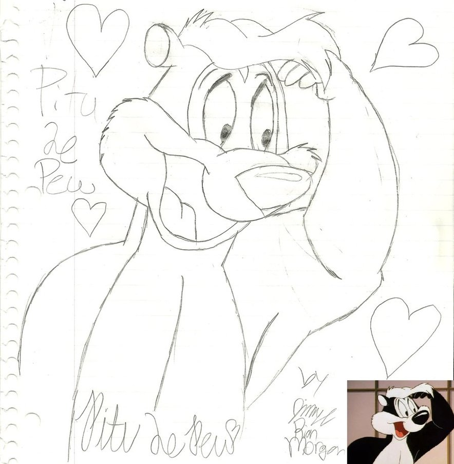 884x903 Pitu Le Pew First Attempt By Looneyartist