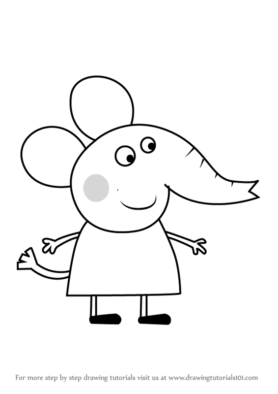 566x800 Learn How To Draw Emily Elephant From Peppa Pig (Peppa Pig) Step