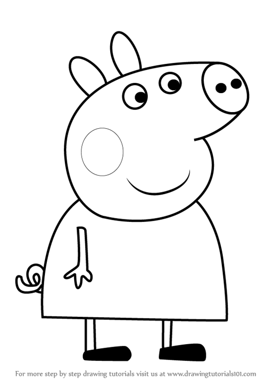 566x800 Learn How To Draw Lindsey Pig From Peppa Pig (Peppa Pig) Step By