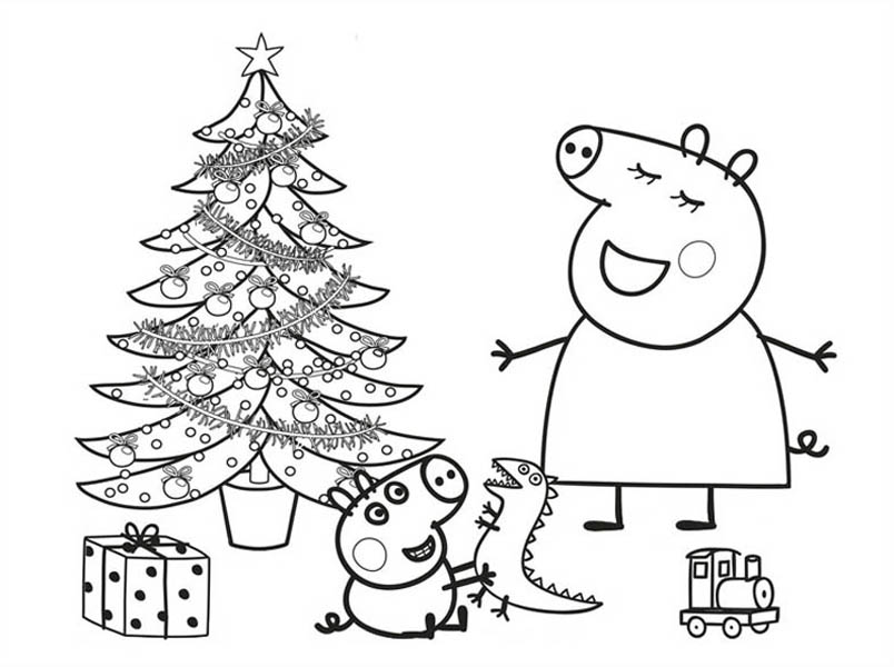 804x600 Peppa Pig Christmas Coloring Pages Printable For Cure Draw Image