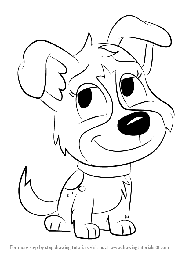596x842 Learn How To Draw Pepper From Pound Puppies (Pound Puppies) Step