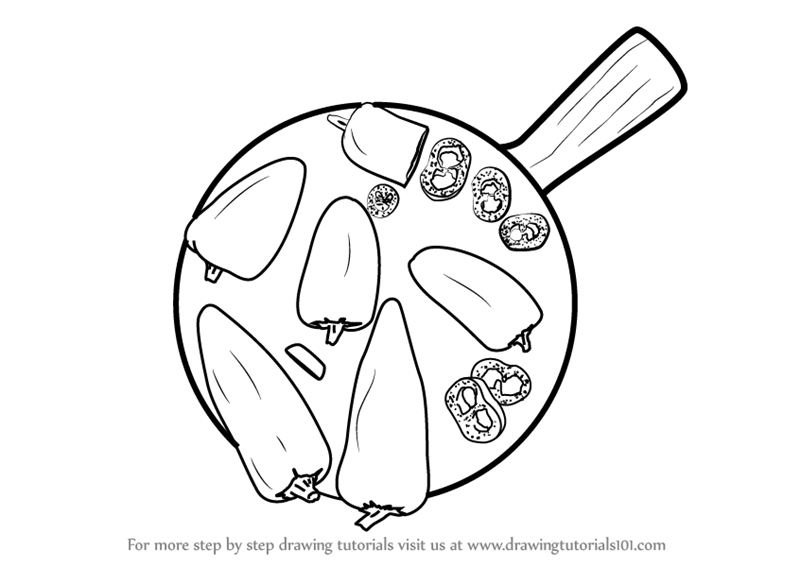 800x567 Learn How To Draw Pepper On Platter (Special Dishes) Step By Step