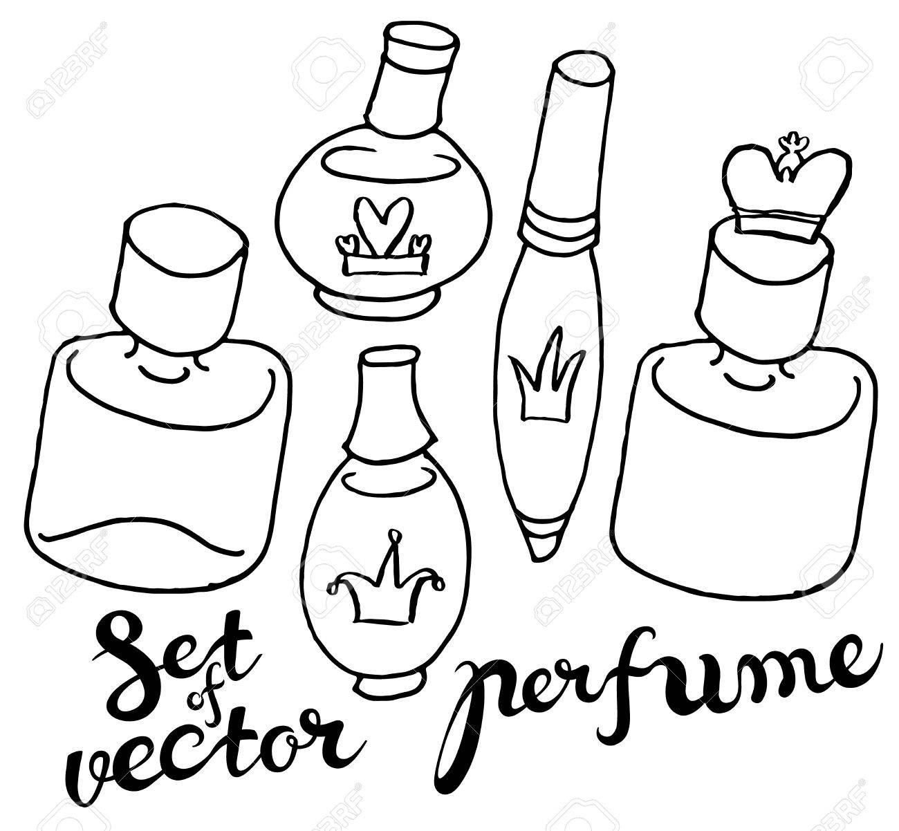 1300x1202 Hand Draw Vector Perfume Bottles In Naive Style With Hand