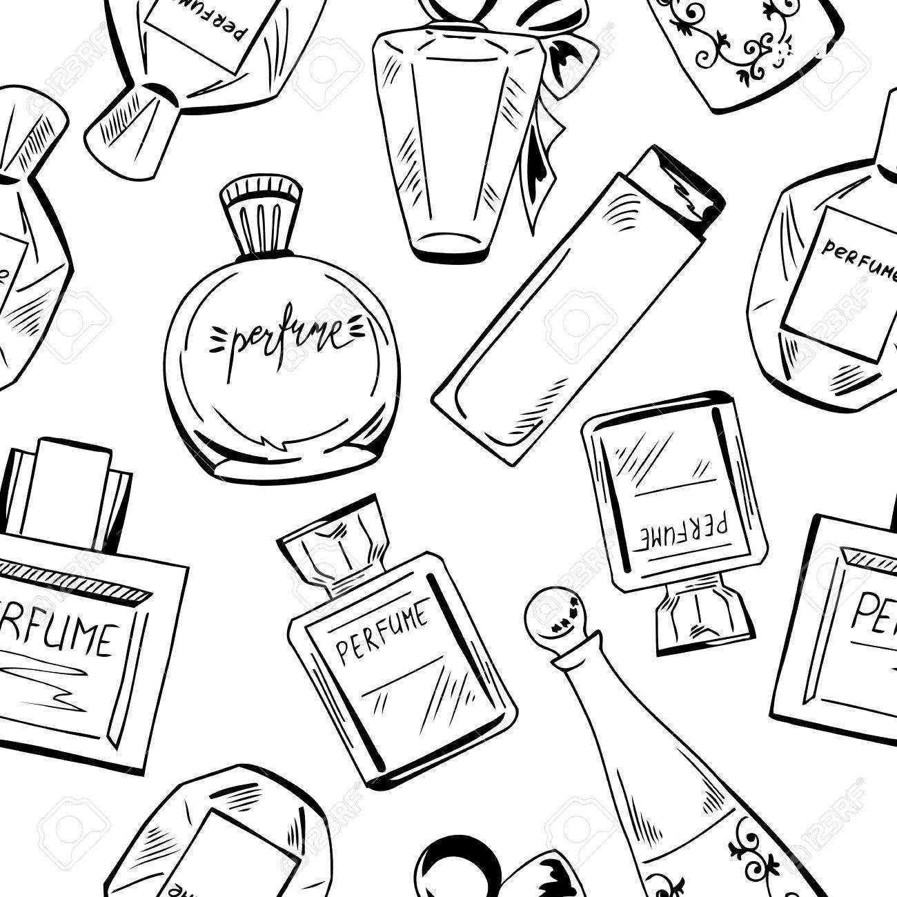 1300x1300 Perfume Bottle Background. Black And White Illustration. Graphic