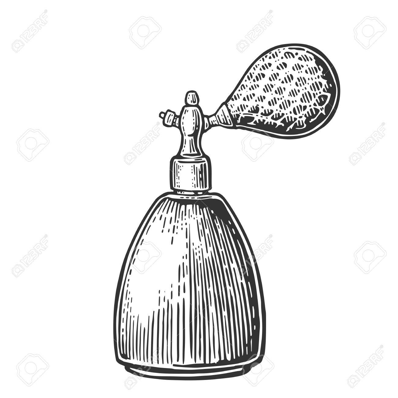 1300x1300 Perfume Bottle Spray. Vector Black Illustrations On White