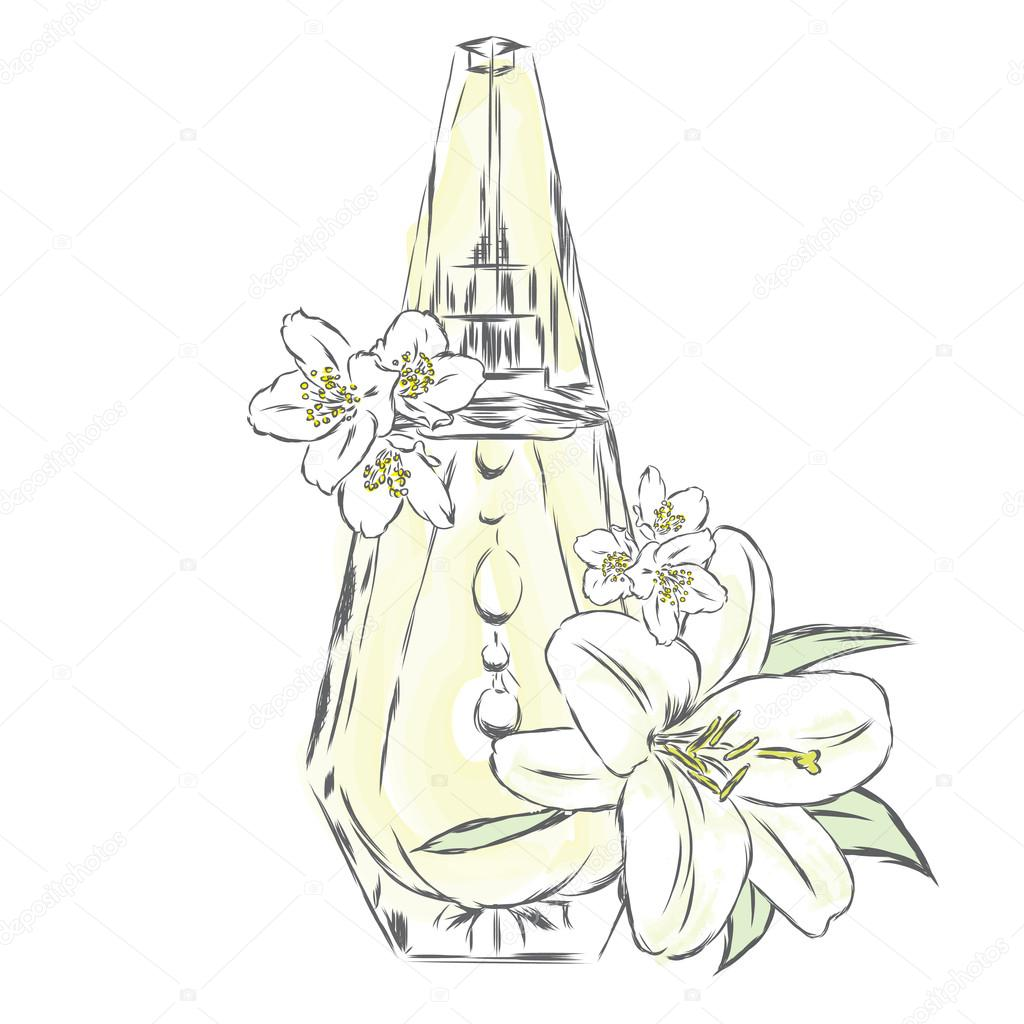 1024x1024 Perfume Bottle And Flowers. Vector Print On A Postcard, Poster
