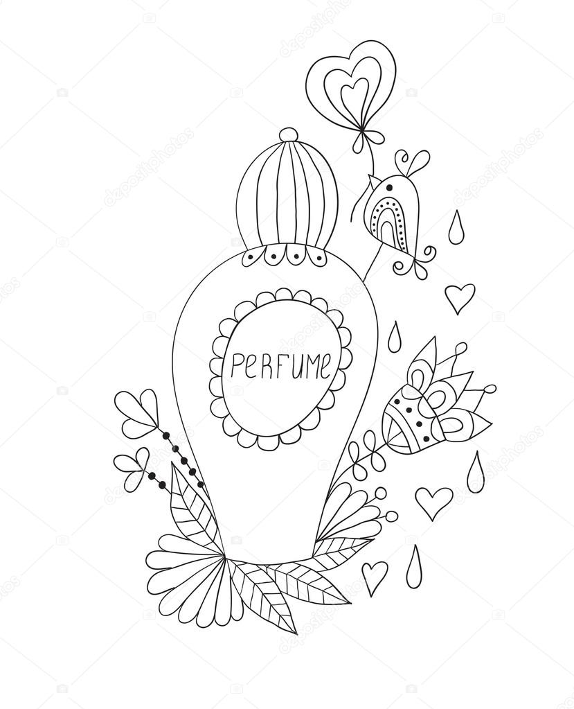829x1023 Perfume Bottle With Flower Patterns. Stock Vector Vip2807