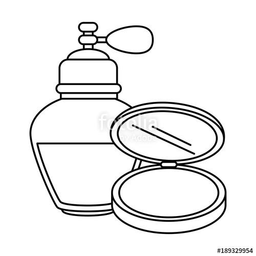 500x500 Women Perfume Bottle Whit Makeup Powder Vector Illustration Design
