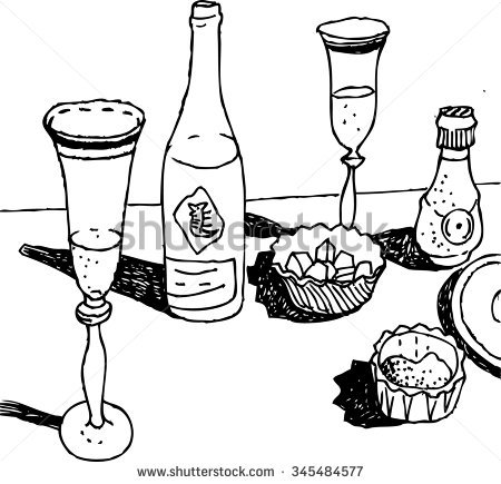 450x435 Drawn Bottle Still Life