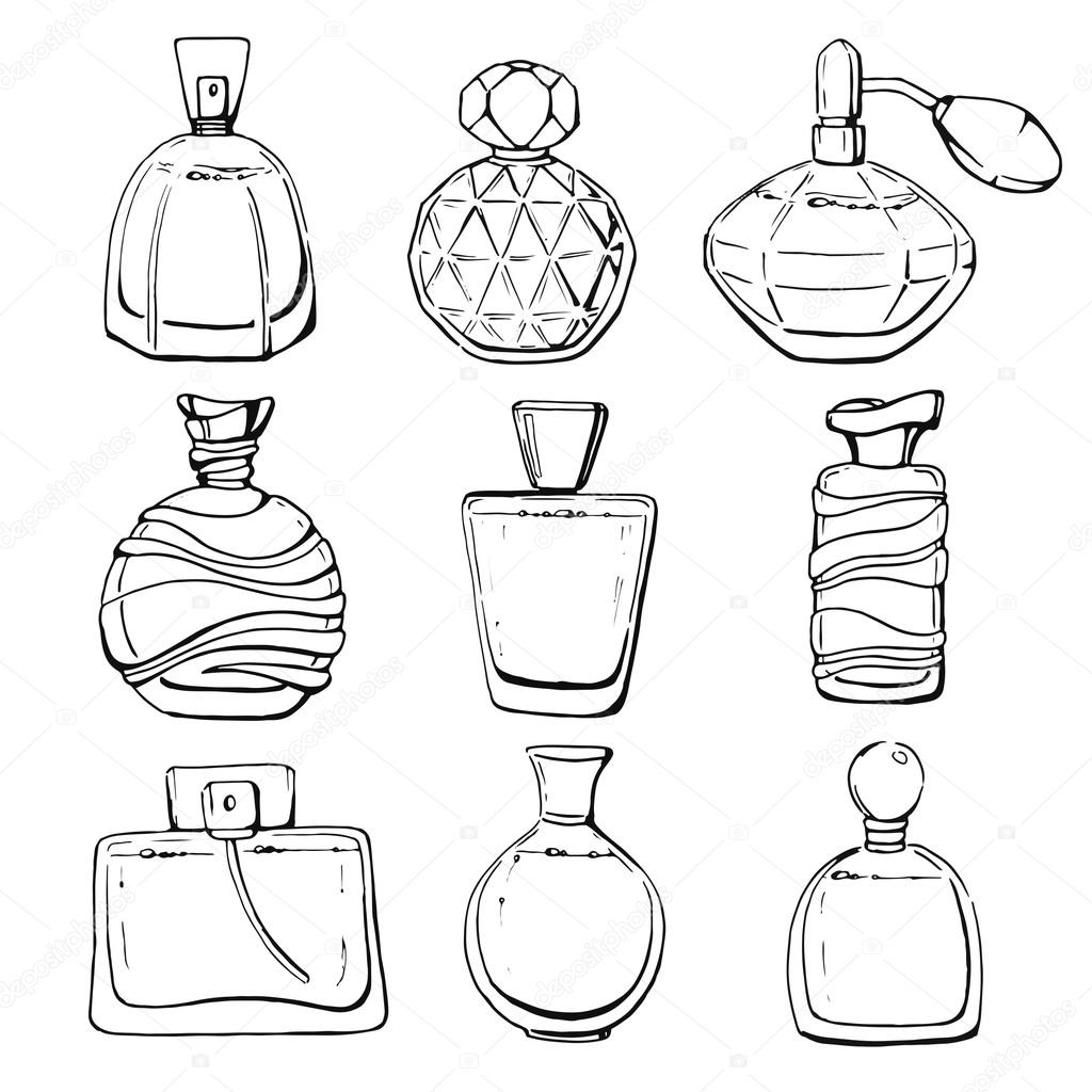 1024x1024 Set Of Linear Hand Drawn Perfume Bottles Stock Vector