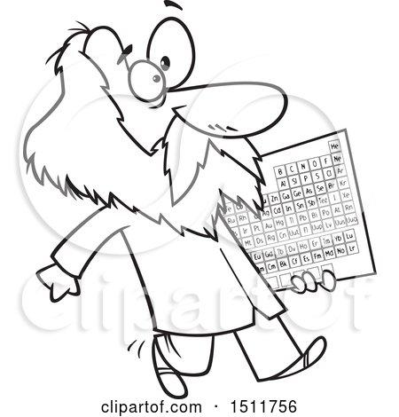 450x470 Clipart Of A Cartoon Black And White Man, Dmitri Mendeleev