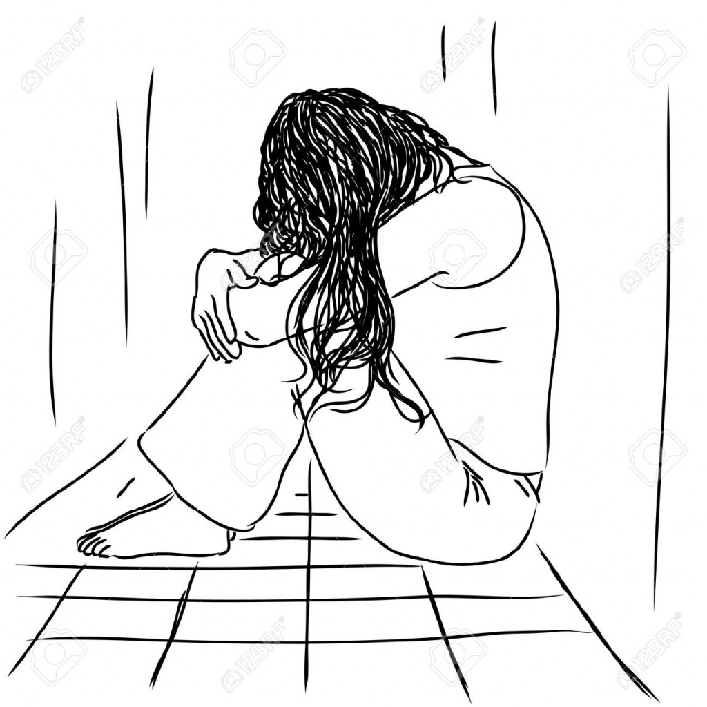 1024x1024 Sad Person Drawing Sad Person Sitting Alone Clipart
