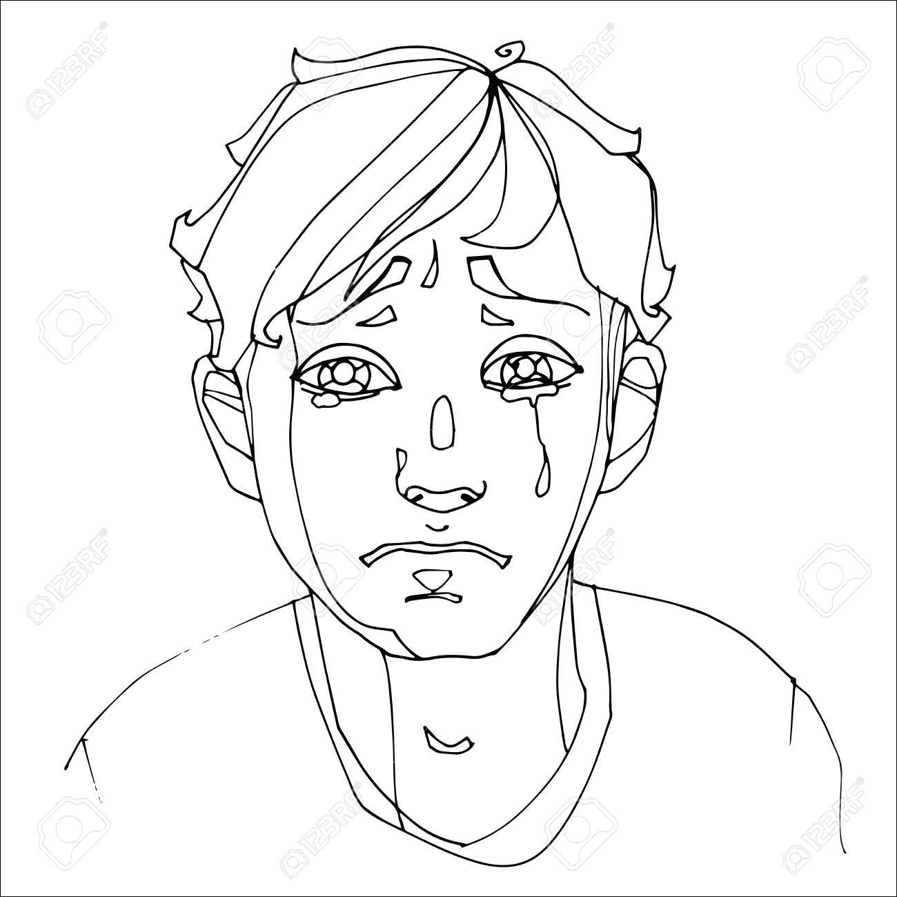 1300x1300 The Boy Crying Heavily, Human Emotions. Sketch Hand Drawing