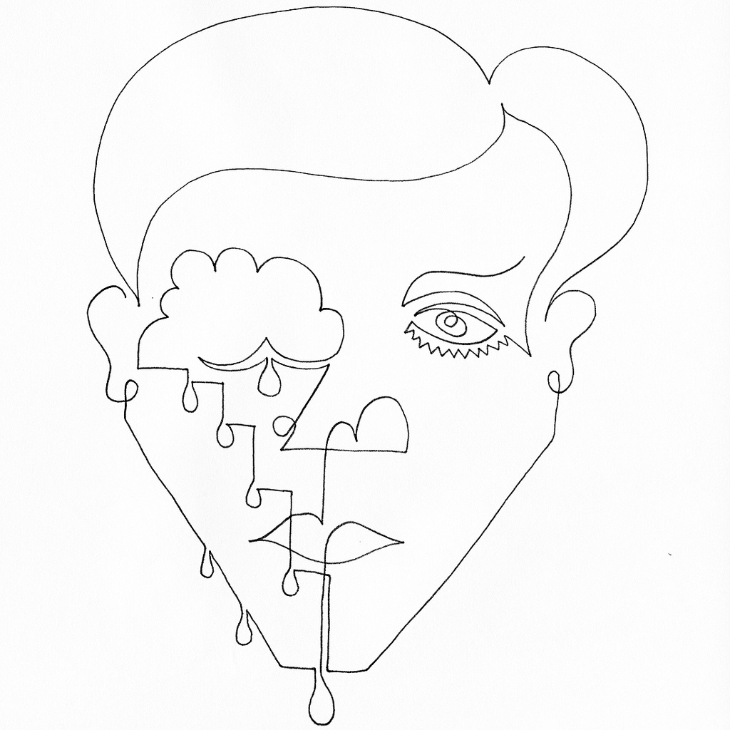 1024x1024 A Single Line Drawing Of A Person Whos Crying But You