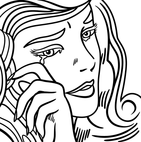 478x480 Crying Girl By Roy Lichtenstein Coloring Page Free Printable