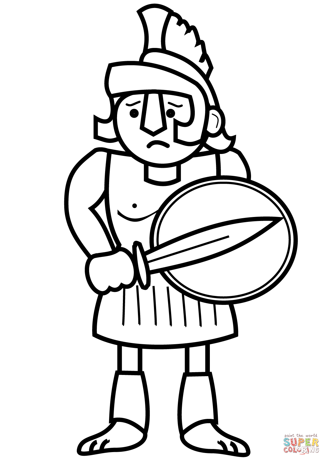 1061x1500 Cartoon Ancient Greek Soldier Coloring Page Free Printable