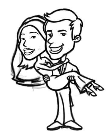350x446 Cartoon Bride And Groom Characters