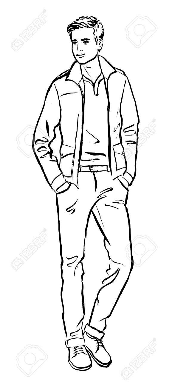 577x1300 Fashion Illustration Of Man. Ink Outline Sketch Isolated