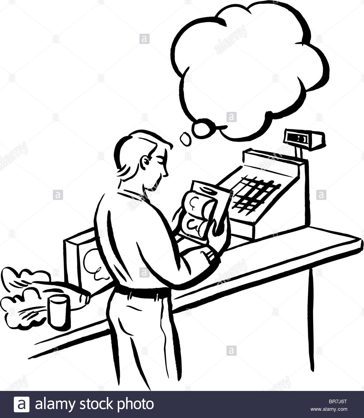 1212x1390 A Black And White Drawing Of A Man Making A Buying Decision