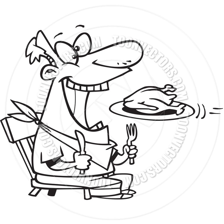 940x940 Cartoon Man Eating Turkey (Black And White Line Art) By Ron