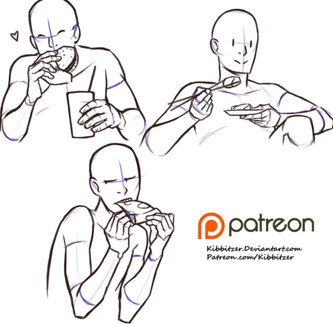 Person Eating Drawing