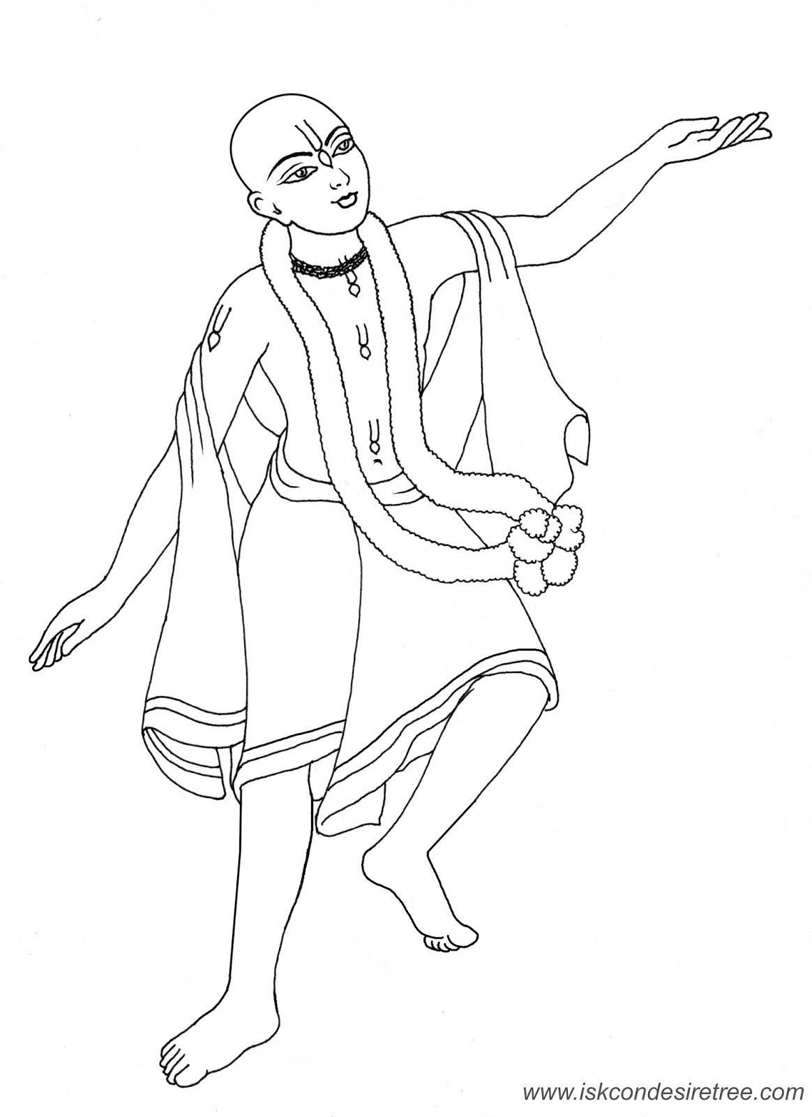 1164x1600 Bhagavat Chintan Das (Bhikaji) Sri Chaitanya Mahaprabhu Line Drawing