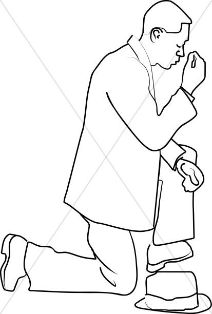 413x612 Man On A Knee In Prayer Prayer Clipart