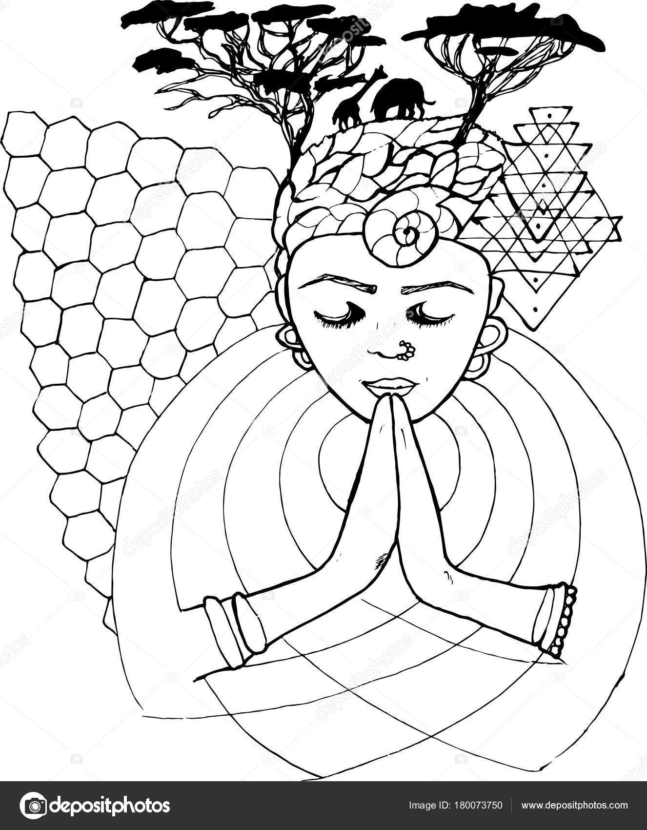1326x1700 Black And White Drawing Of A Praying Person With Closed Eyes